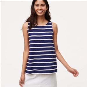Loft navy and white stripped tank with tie back